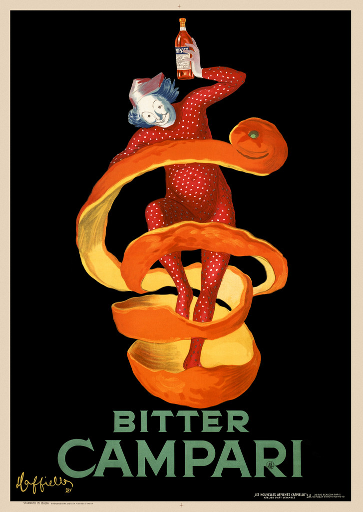 Bitter Campari (orange peel) Cappiello Italian poster - Beautiful Vintage Posters Reproductions. Italian poster features jester clown in red surrounded by an orange peel holding high a bottle of Campari Liquor. Giclee Advertising Prints