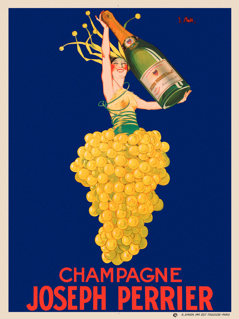 Champagne Joseph Perrier poser by J. Stall . Beautiful Vintage Poster Reproductions. French champagne asti poster features a woman in a yellow grape skirt holding up a large bottle of champagne against a blue background. Prints posters