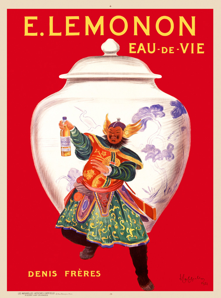 E. Lemonon poster by Cappiello 1922 French - Vintage Poster Reproduction. This vertical French water advertisement features an asian man holding up a bottle on a red background. The man is dressed as a warrior and is in front of a vase. Giclee Prints