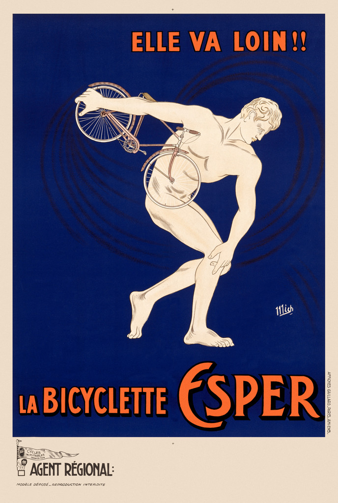 La Bicyclette Esper  poster by Mich 1910 France -  Vintage Poster Reproductions. This vertical French transportation poster features a marble statue of a man holding a bicycle as though throwing it like a discus. Giclee Advertising Print. Classic Posters