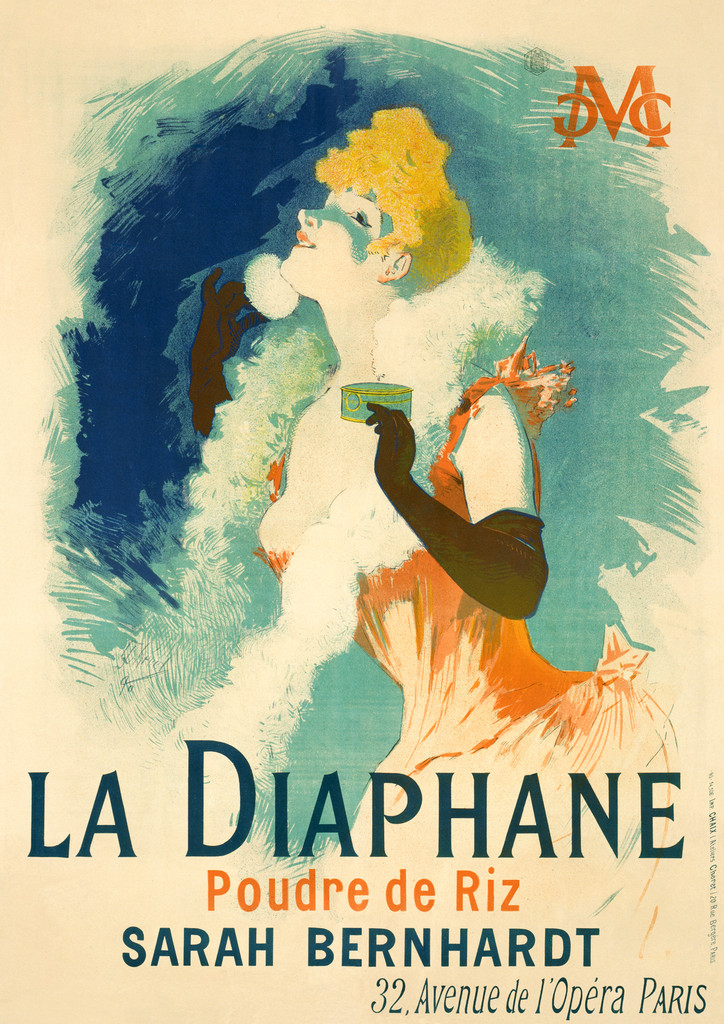 La Diaphane Sarah Bernhardt poster by Jules Cheret 1896 France - Vintage Posters Reproductions. French product poster features a formally dressed womam powdering her face against a blue background. Giclee Advertising Prints. Classic Posters