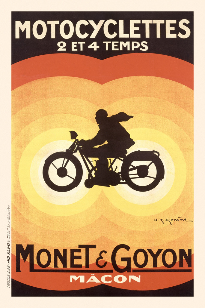 Motocyclettes Monet Goyon poster print by O.K. Gerard 1926 France - Vintage Posters Reproductions. French transportation poster features the silhouette of a man on a motocycle inside 2 joining sets of concentric circles. Giclee Advertising Prints