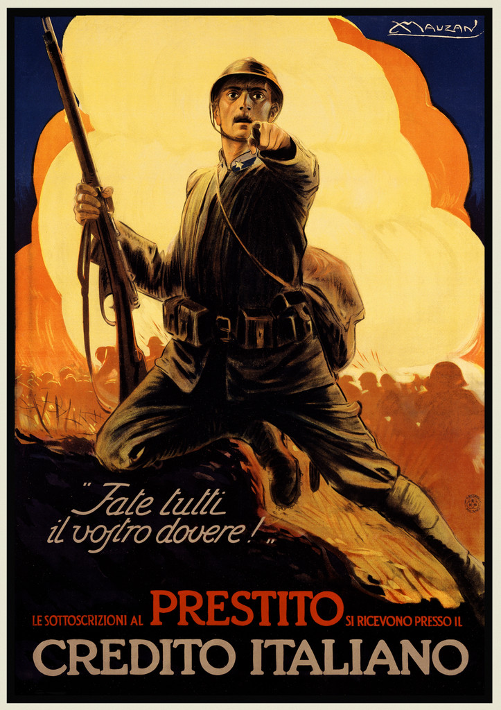 Prestito Credito poster print by Mauzan 1920 Italy - Vintage Poster Reproduction.  Italian product / war poster features a soldier with his rifle in battle pointing at the viewer with cloud behind him. Giclee Advertising Prints. Classic Posters