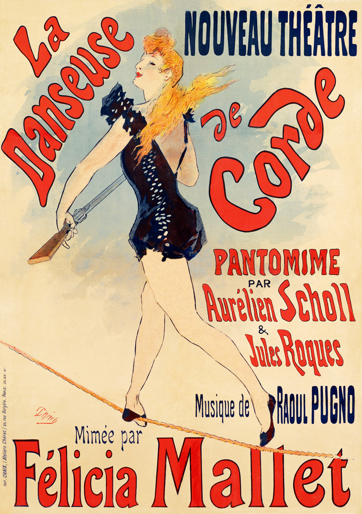 La Danseuse De Corde by J. Cheret 1891 France - Beautiful Vintage Poster Reproductions. This vertical French theater and exhibition poster features a red headed performer in a black sequin costume walking a tightrope. Giclee Advertising Prints. Classic Posters