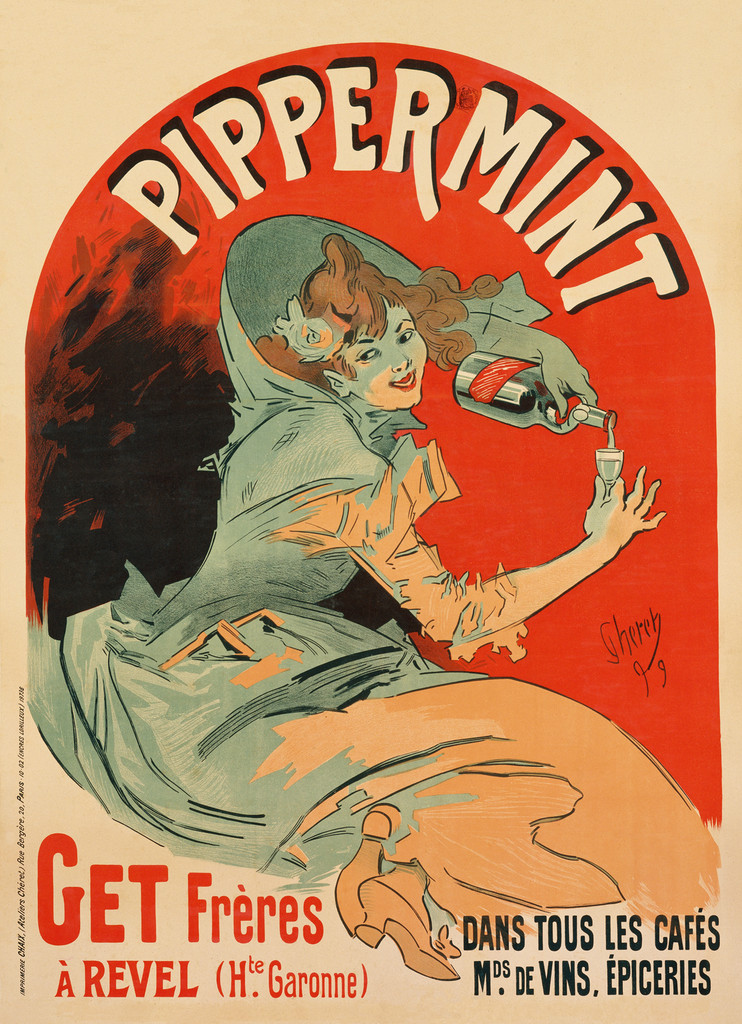 Pippermint Get Freres poster print by J. Cheret from 1899 France - Beautiful Vintage Poster Reproduction. This vertical French wine and spirits poster features a woman pouring creme de menthe into a glass. The background is a red arch way. Giclee Advertising Prints. Classic Posters