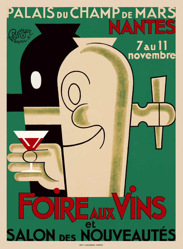 Foire aux Vins poster print French Vintage Poster Reproduction. This vertical French wine and spirits poster features two tappers (spouts), one black and one white, with smiling faces. One is holding a red martini against a green background. Giclee Prints
