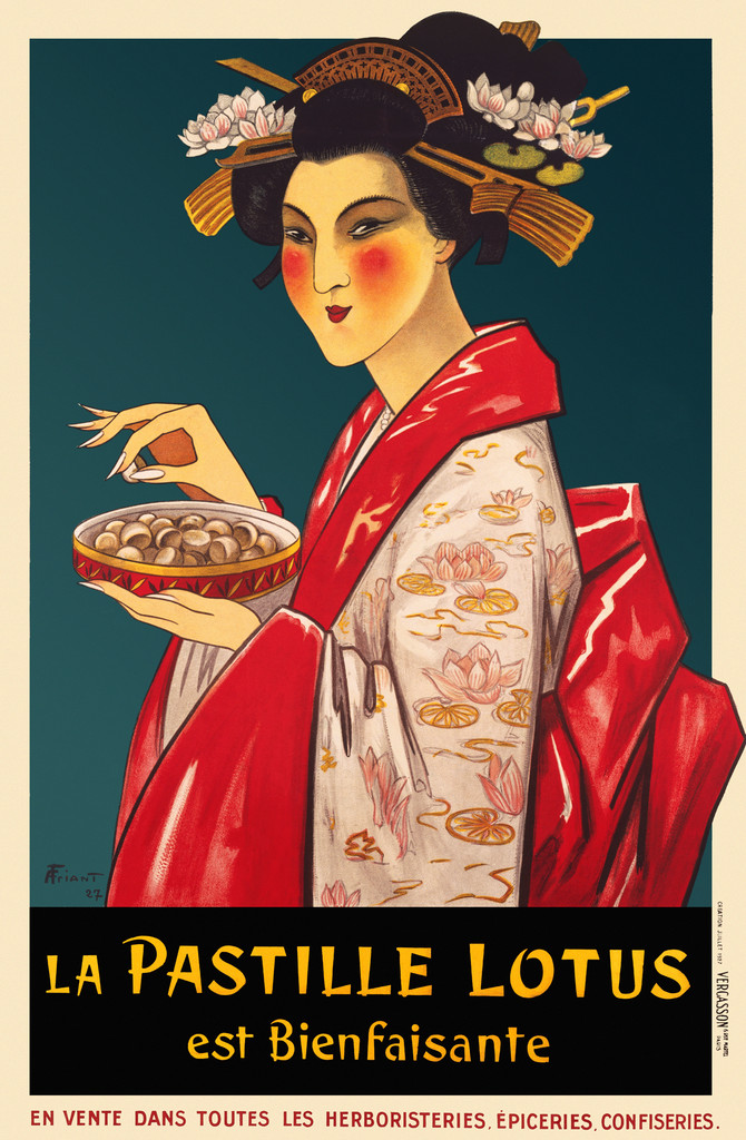La Pastille Lotus poster print from 1927 France - Vintage Poster Reproduction. This vertical French culinary / food poster features an Asian woman, geisha, in a pink kimono holding a bowl and delicately lifting a piece. Giclee Advertising Prints. Classic Posters