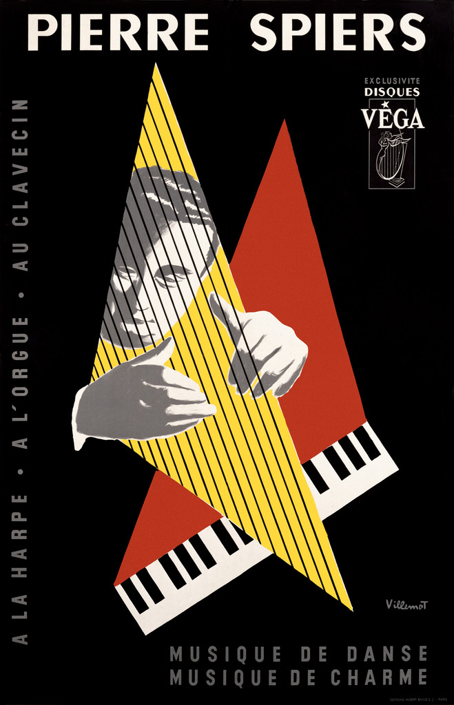 Pierre Spiers Musique De Dancse poster print by Bernard Villemot 1950 France - Vintage Poster Reproduction. This vertical French theater exhibition poster features a man plucking the strings of a harp in a yellow triangle with a keyboard behind it. Giclee Advertising Prints. Classic Posters
