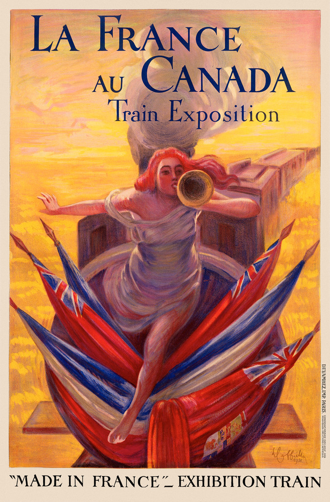 """La France Au Canada by L. Cappiello 1921 France- Beautiful Vintage Poster Reproduction. This poster advertises the made in France"""" exhibition train. A woman on the front of the train floats above flags as she blows a horn. Giclee Advertising Prints."""