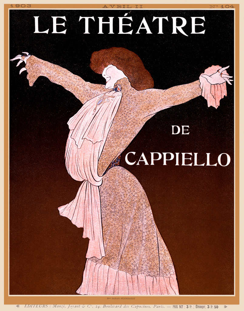 Le Theatre by Cappiello 1903 France - Beautiful Vintage Poster Reproduction. This vertical advertisement is for a special issue of the magazine Le Theatre. The poster features a woman with her arms outstretched. Vintage Giclee Advertising Prints