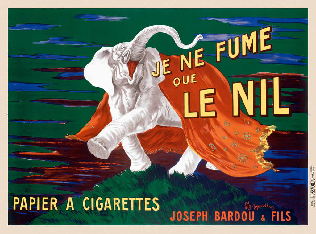 Je Ne Fume Que Le Nil Papier A Cigarettes poster by Cappiello. Beautiful Vintage Poster Reproduction. Horizontal cigarette paper advertisement features a white elephant draped in red fabric. Giclee Advertising Prints. Classic Posters