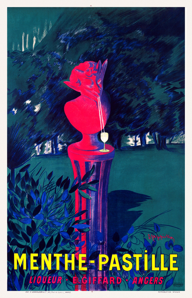 Menthe Pastille by Cappiello 1906 France - Beautiful Vintage Poster Reproduction. This vertical French liquor (wine and spirit) advertisement features a statue in a green park enjoying a drink from a straw. Giclee Advertising Prints. Classic Posters