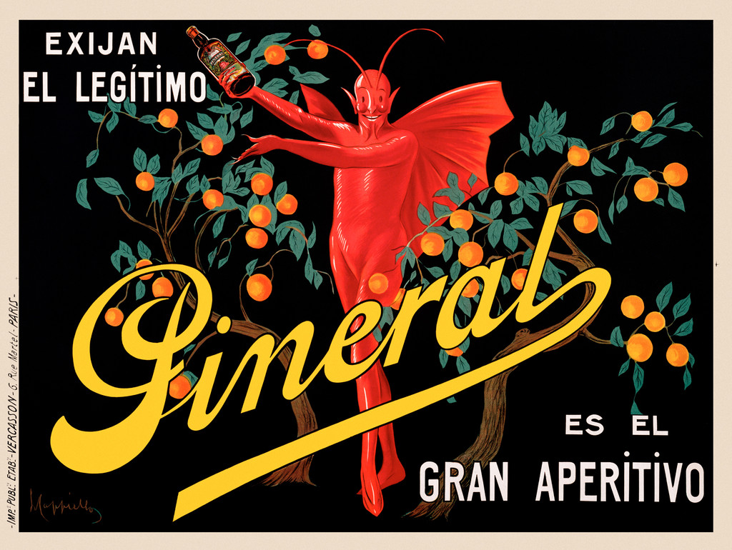 Pineral Gran Aperitivo poster by Cappiello France - Beautiful Vintage Poster Reproduction. Horizontal liquor (wine and spirit) poster features a red devil surrounded by orange trees on a black background. The winged man in red is holding a bottle.