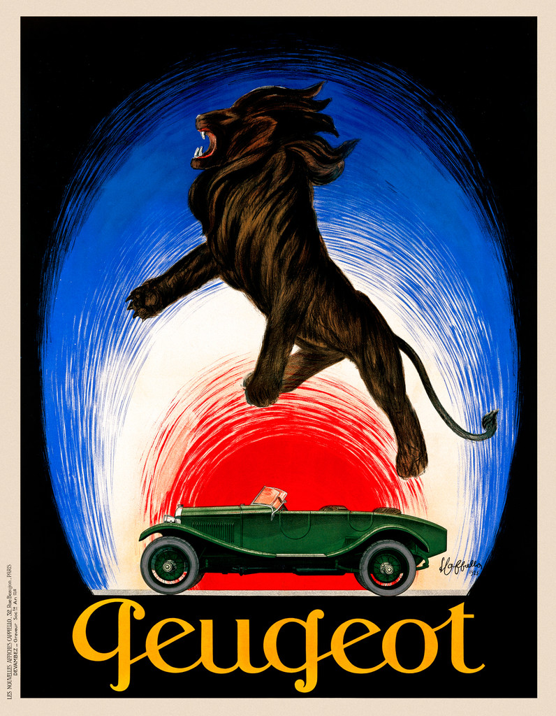 Peugeot poster print by Leonetto Cappiello 1925 France - Vintage Poster Reproduction. This vertical French Peugeot advertisement features a green car with a black lion floating above. Giclee Advertising Prints. Classic Posters. Automobile Transportation Theme.