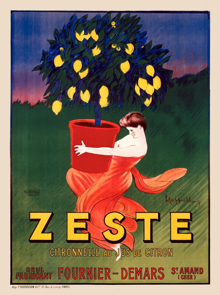 Zeste poster by Cappiello 1906 France- Beautiful Vintage Poster Reproduction. This vertical French advertisement features a woman carrying a potted lemon tree. She is in a red dress and can barely lift the large red pot. Giclee advertising prints. Classic Posters