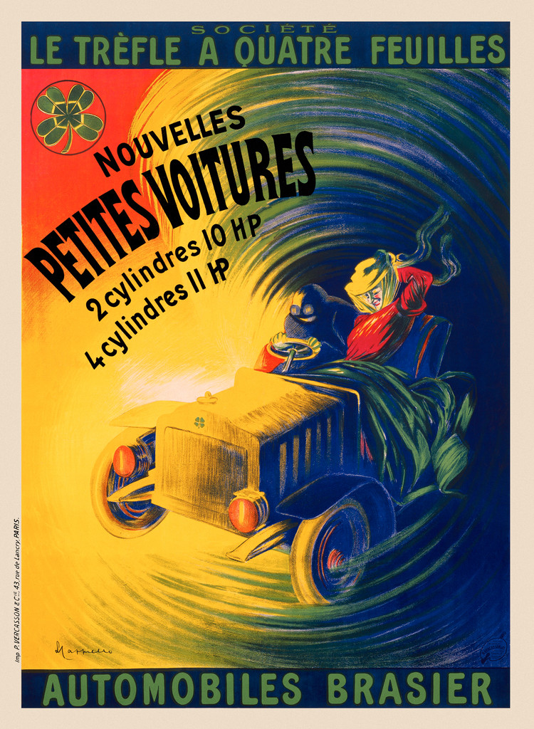 Automobiles Brasier poster by Leonetto Cappiello 1906 France - Vintage Poster Reproduction. This vertical French car advertisement features a man and a woman on a wild ride. The automobile is speeding through a rainbow swirl. Giclee Advertising Prints