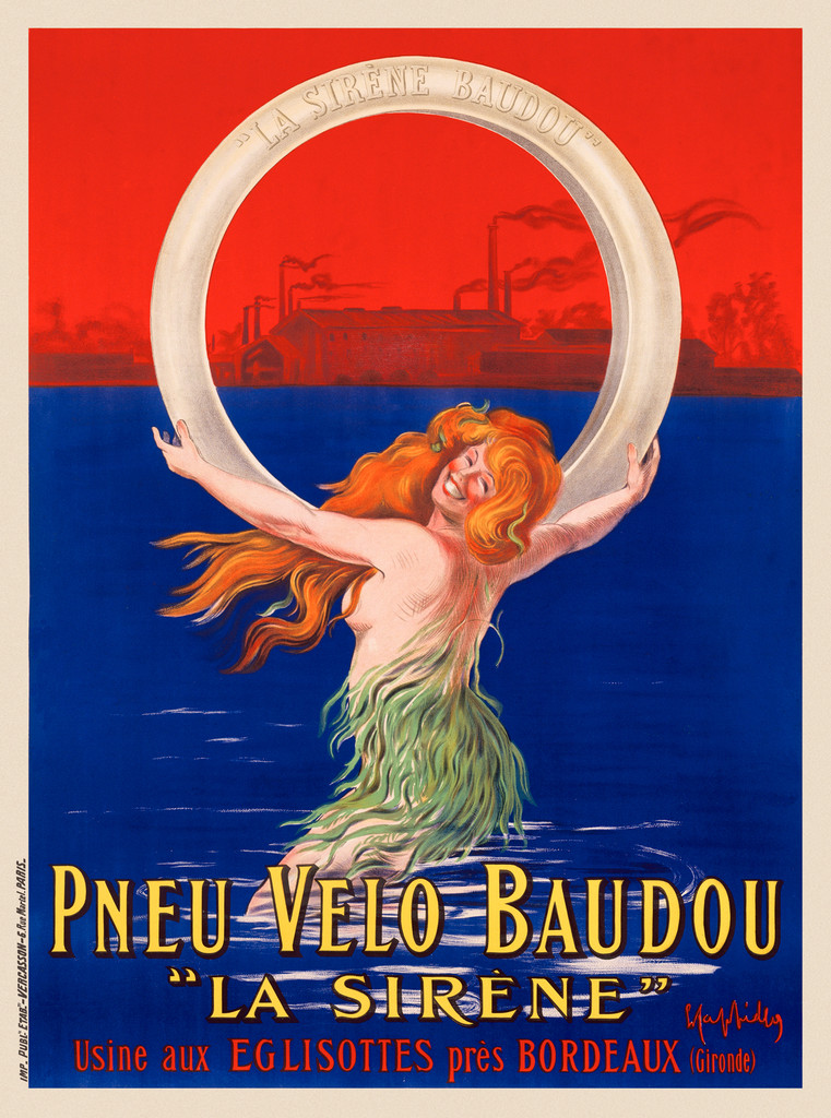 Pneu Velo Baudou La Sirene poster by Leonetto Cappiello - Beautiful Vintage Poster Reproduction. French poster features a siren (women) with red hair wearing seaweed coming out of the water holding a tire. Giclee advertising prints. Classic