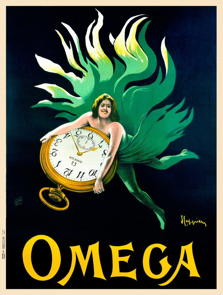 Omega Watches poster by Leonetto Cappiello - Beautiful Vintage Poster Reproduction. French poster features a women in green flowing fabric floating on a black background holding a pocket watch. Giclee advertising prints. Classic Posters