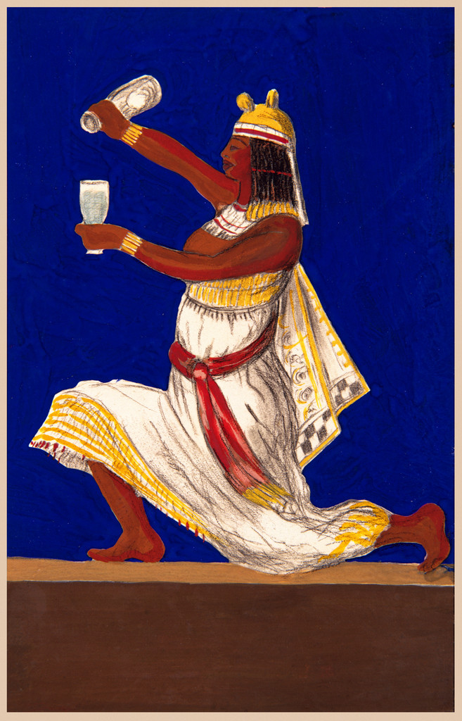 Egyptian Water Poster Print by L. Cappiello - Beautiful Vintage Posters Reproductions. This vertical French poster features an Egyptian lunging as they pour water into a glass. The background is blue and brown. Giclee advertising prints. Classic Posters