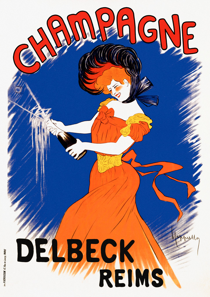 Champagne Delbeck poster by Leonetto Cappiello France - Beautiful Vintage Poster Reproduction. This vertical French wine and spirit poster features a women with red hair in a orange dress popping a bottle of Champagne. She is on a blue background. Giclee prints