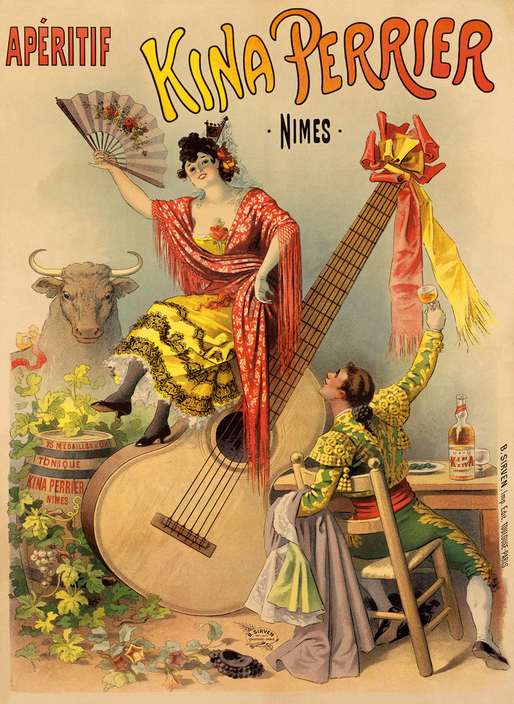 Aperitif Kina Perrier by Sirven 1900 France- Beautiful Vintage Poster Reproduction. This vintage French wine and spirits poster feature a spanish couple, the woman seated on a giant guitar and the man seated at a table holding up his aperitif glass. Giclee Prints
