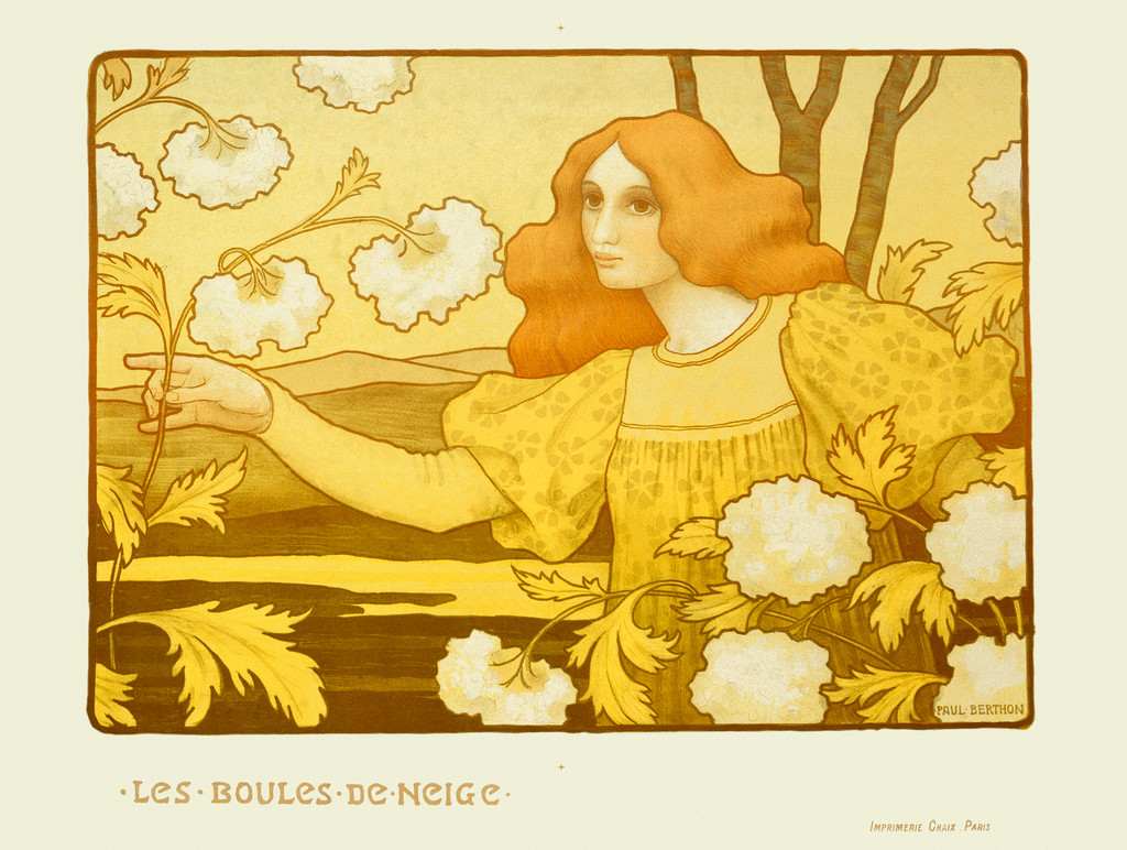 Le Boules De Neige poster by Paul Berton 1900 France - Beautiful Vintage Poster Reproduction. This horizontal French art nouveau poster features a woman reaching out to white flowers on a largely yellow image. Giclee Advertising Prints. Classic Posters