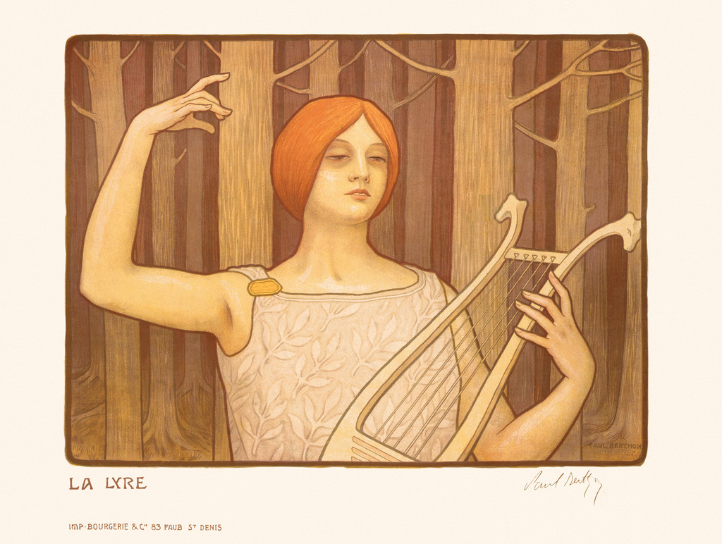 La Lyre by Paul Berthon 1901 France - Beautiful Vintage Poster Reproductions. This horizontal French poster features a muted art nouveeau image of a red headed woman in a forest of trees with no leaves playing a harp. Giclee Advertising Print. Classic Posters