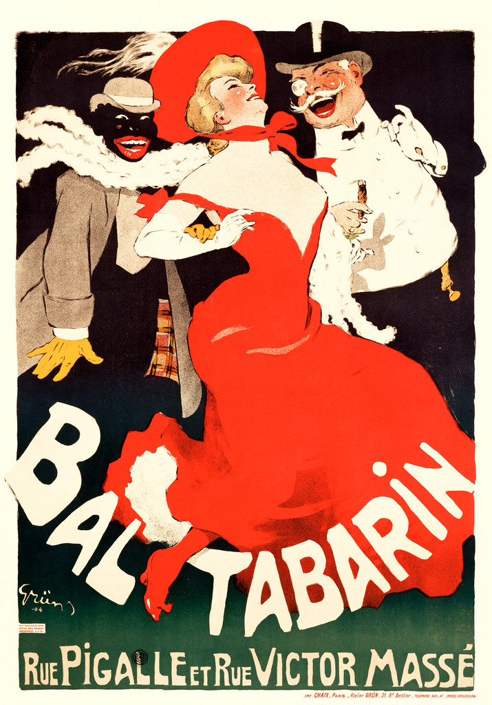 Bal Tabarin poster by Jules Alexandre Grun 1904 French - Beautiful Vintage Poster Reproductions. French theater and exhibition poster features a man and woman followed by a black man laughing and walking dancing along. Giclee Advertising Prints. Classic Posters