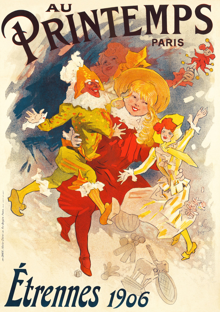 Au Printemps Paris Poster by poster by Jules Cheret 1906 France - Beautiful Vintage Poster Reproduction. This vertical French poster features a girl in a red dress and hat skipping with dolls in each hand and other toys all around. Giclee Advertising Prints. Classic Posters