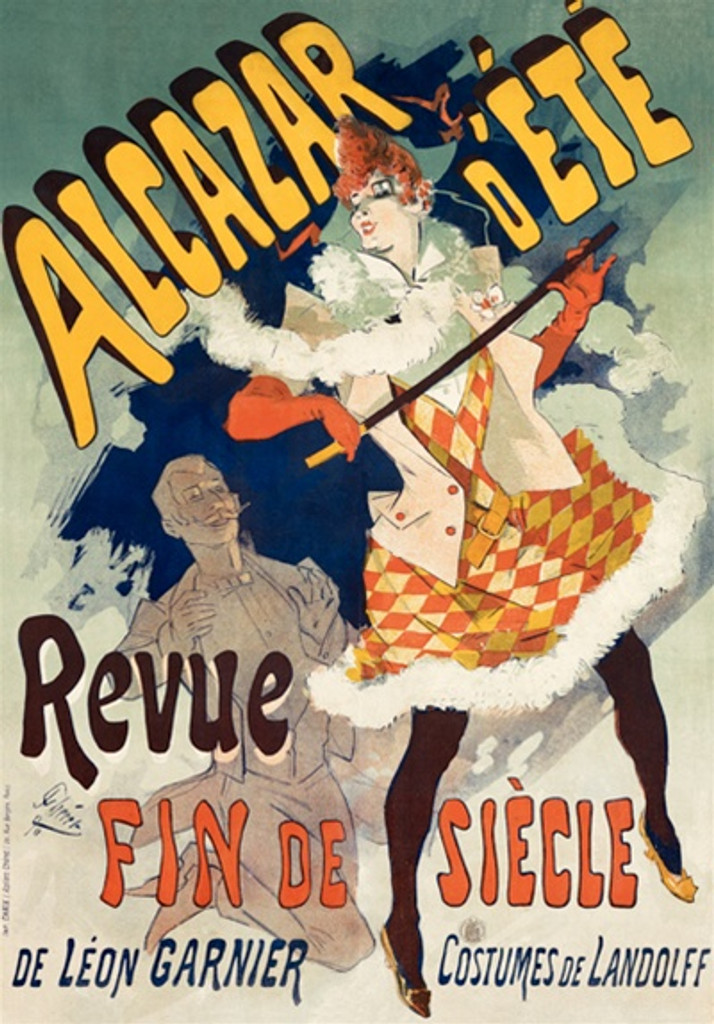Alcazar D Ete by Jules Cheret 1892 France - Vintage Poster Reproductions. This vertical French theater exhibition poster features a woman in a orange check dress dancing with a cane in front of a man clapping. Giclee Advertising Print. Classic Posters