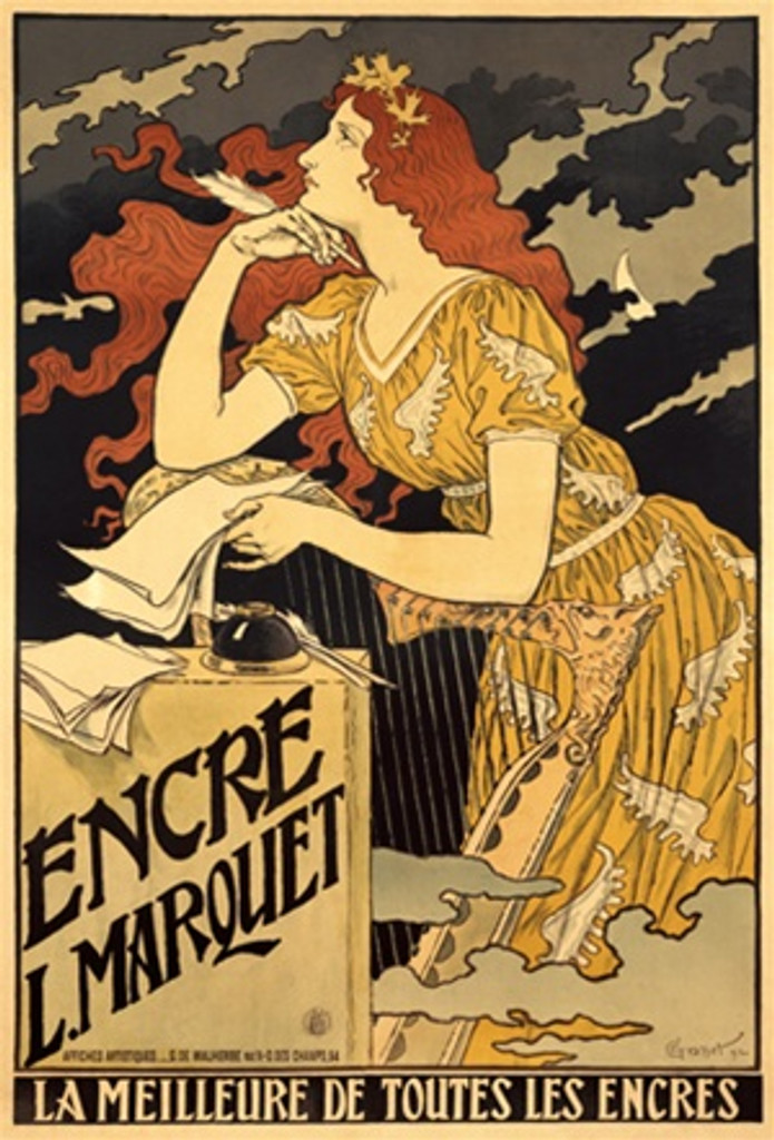 Encre L Marquet by Grasset 1894 France - Beautiful Vintage Poster Reproductions. French art nouveau poster features a red headed woman in the wind leaning on a harp holding papers and a quill. Giclee Advertising Print. Classic Posters
