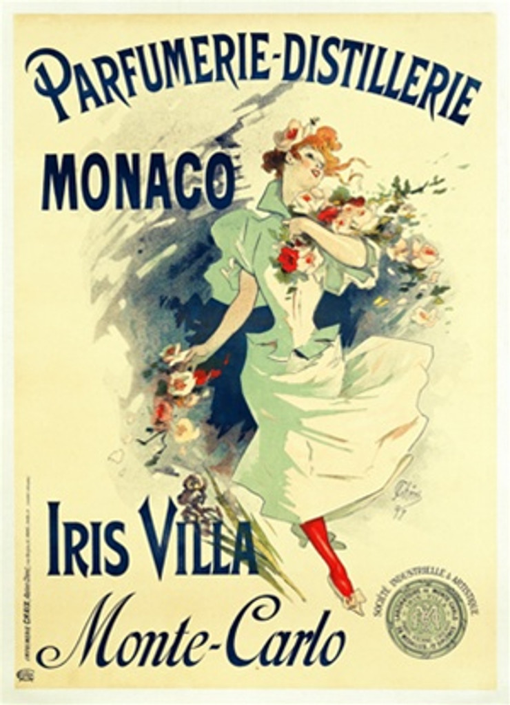 Parfume Distillere Monaco by Jules Cheret 1897 French - Beautiful Vintage Poster Reproductions. This vertical French product poster features a woman skipping with flowers in her hands and flow over her shoulder. Giclee Advertising Print. Classic Posters