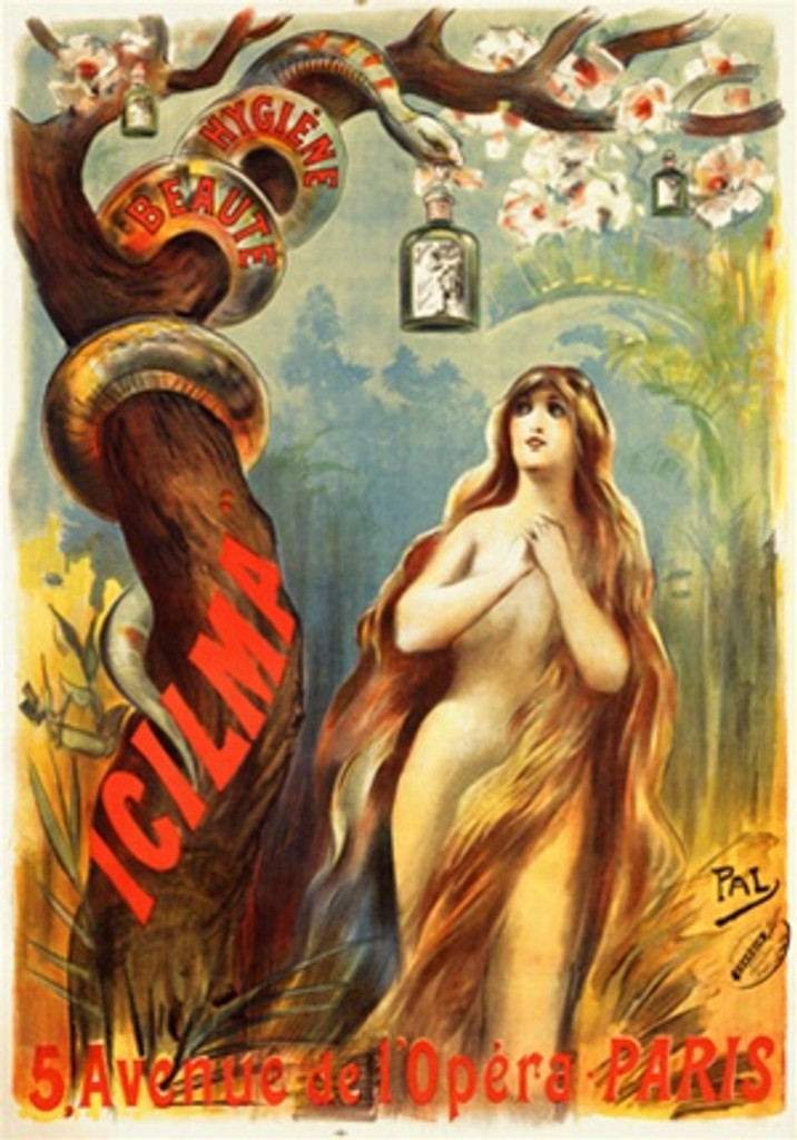 Icilma Opera By Pal 1897 French - Beautiful Vintage Poster Reproductions. This vertical French theater and exhibition poster features a naked woman, Eve, in the garden with a snake in tree offering her a bottle. Giclee Advertising Print. Classic Posters