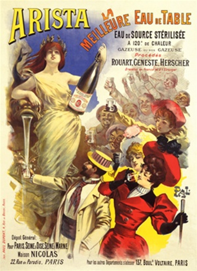 Arista Eau by Pal 1890 France - Beautiful Vintage Poster Reproductions. This vertical French culinary / food poster features a woman in a toga holding a large bottle of water over a crowd holding up glasses. Giclee Advertising Print. Classic Posters