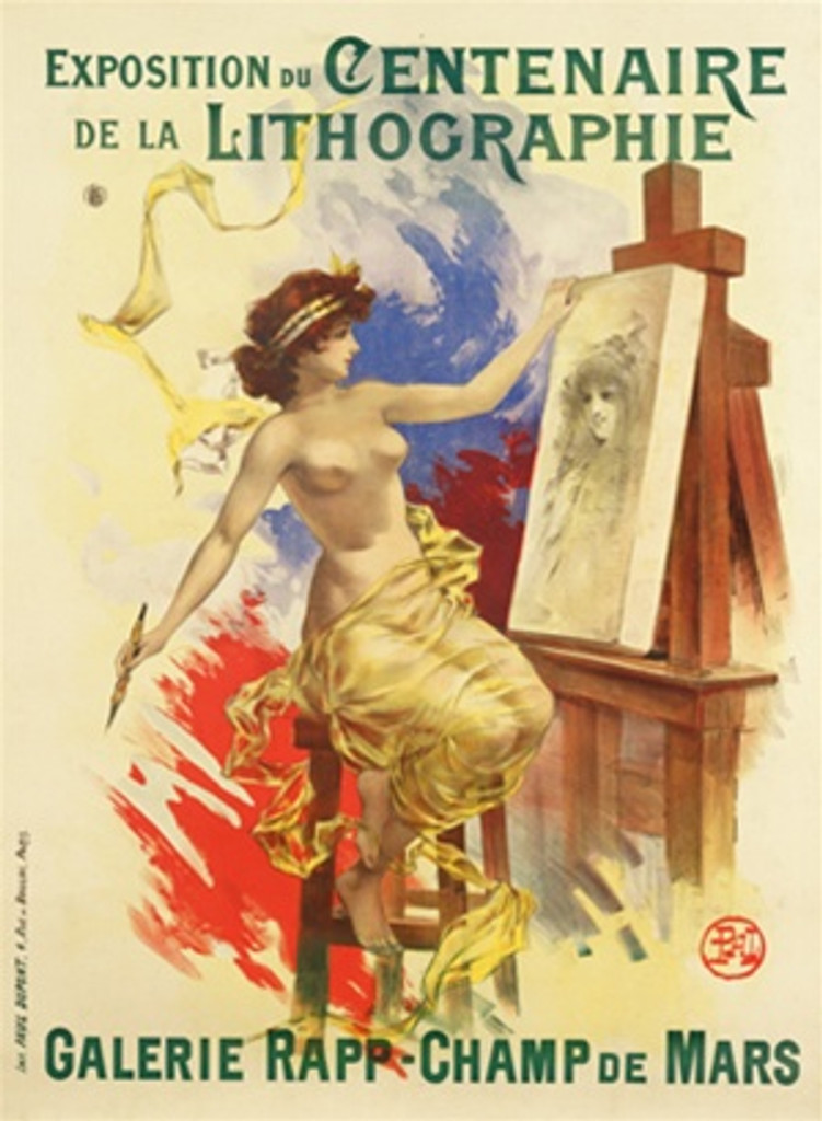 Exposition Centenaire de Lithographie by Pal 1895 France - Vintage Poster Reproductions. This French theater exhibition poster features a nude woman draped in sheer fabric sitting at an easel painting a portrait. Giclee Advertising Print. Classic Poster