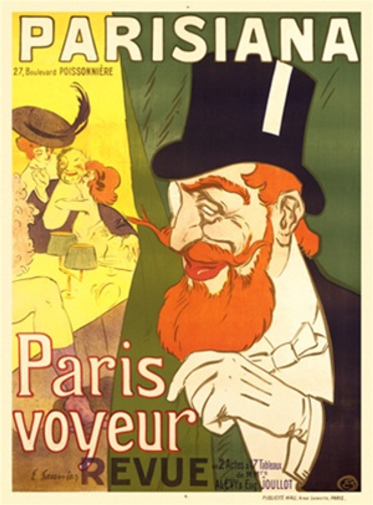 Parsiana 1890 France - Beautiful Vintage Poster Reproductions. This vertical French theater and exhibition poster features a man in a top hat and monocle peaking behind a curtain at a man with two women. Giclee Advertising Print. Classic Posters