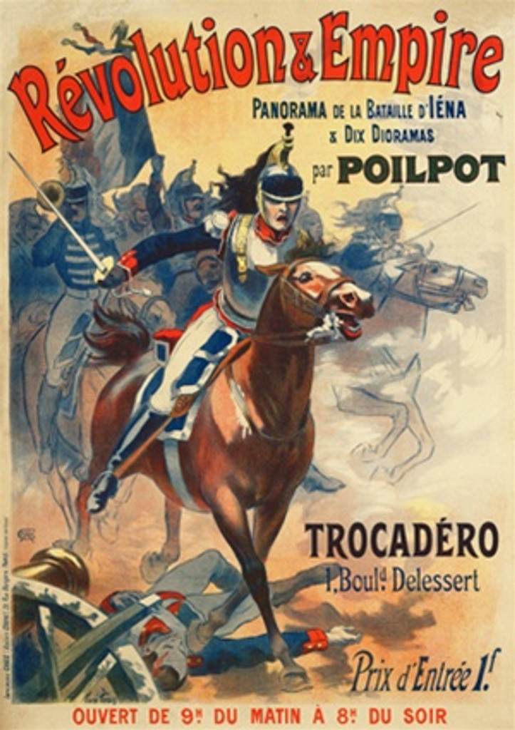 Revolution and Empiree by Pean 1890 French - Vintage Poster Reproductions. This vertical French theater exhibition poster features soldiers on horse back riding into battle with canons and fallen men around them. Giclee Advertising Print. Classic Poster