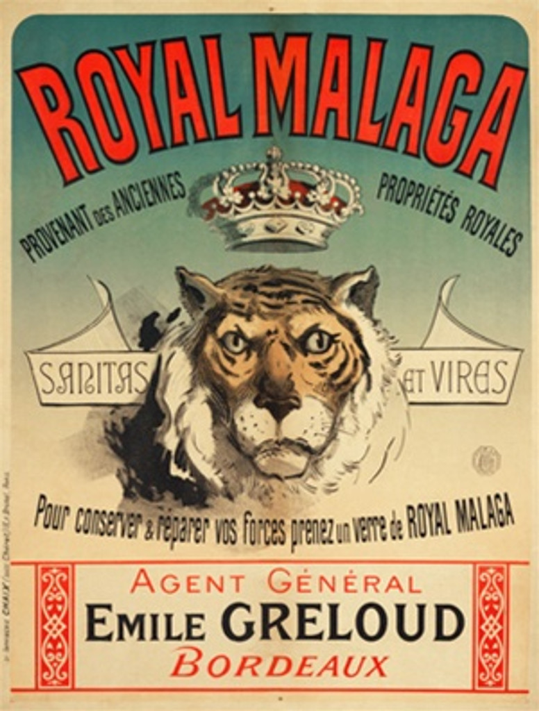 Royal Malaga by Cheret 1890 France - Beautiful Vintage Poster Reproductions. This vertical French poster features a lion or tiger with a crown floating above and a banner on either side of his head. Giclee Advertising Print. Classic Posters
