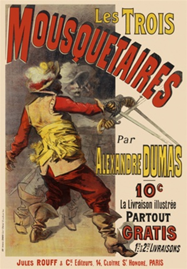 Three Musketeers by Jules Cheret 1890 French - Beautiful Vintage Poster Reproductions. This vertical French theater and exhibition poster features 3 men with swords crossed. Two of the three are in the shadows. Giclee Advertising Print. Classic Posters