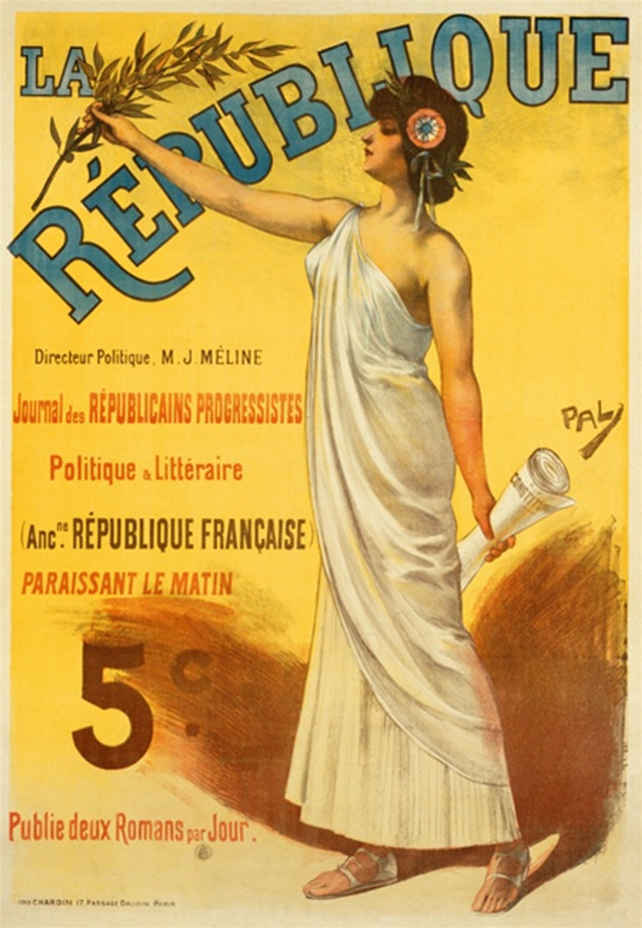 La Republique by Pal poster France - Beautiful Vintage Poster Reproductions. This vertical French poster features a woman in a toga holding up a branch in one hand and a scroll in the other on a yellow background. Giclee Advertising Print. Classic Posters