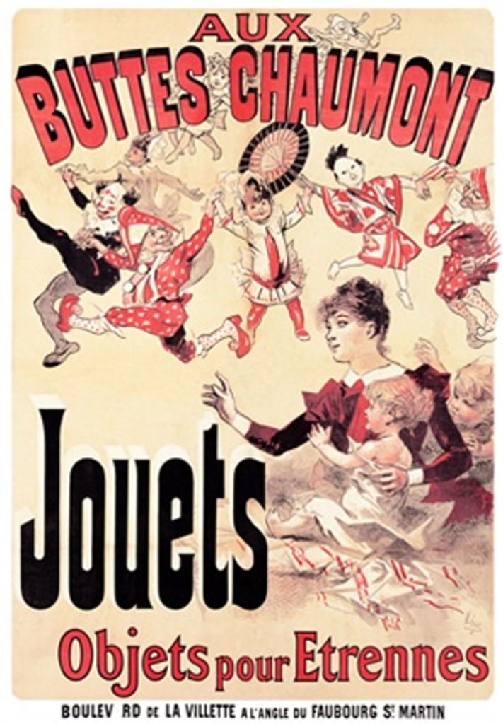 Jouets by Jules Cheret 1888 French - Beautiful Vintage Poster Reproductions. This vertical French product poster features a mother and her 2 children watching a parade of characters dancing in a line. Giclee Advertising Print. Classic Posters
