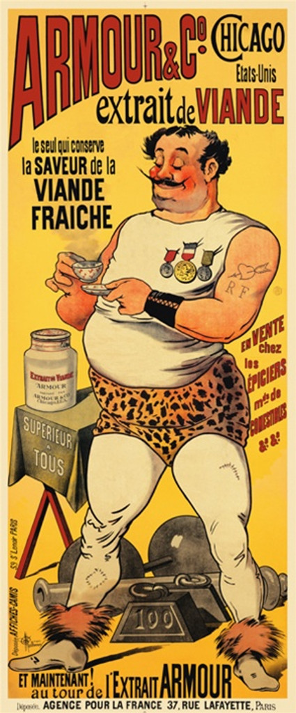 Armour Co. by Guillaume 1898 France - Beautiful Vintage Poster Reproductions. This vertical French product poster features a weight lifter wearing leopard print shorts holding a small saucer and tea cup on yellow. Giclee Advertising Print. Classic Posters
