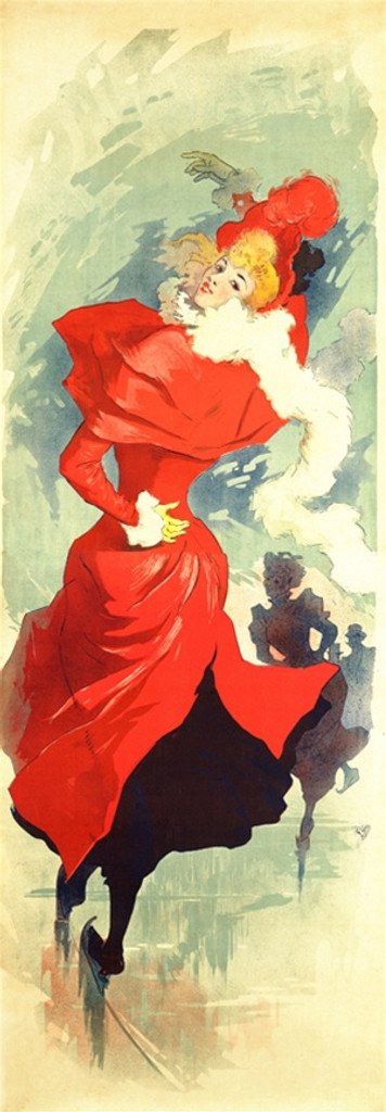 Palais de Glace poster by Jules Cheret 1890 France - Vintage Poster Reproduction. This vertical French theater and exhibition poster features a woman in red dress and hat ice skating with people skating behind her. Giclee Advertising Prints. Classic Posters