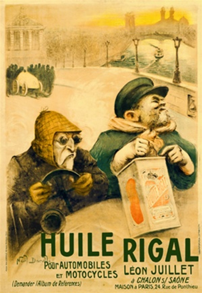 Huile Rigal Pour Automobiles Et Motocycles - Beautiful Vintage Poster Reproduction. This vertical French transportation poster features two men in a car driving over a bridge while one man holds a gas can. Giclee Advertising Prints. Classic Posters