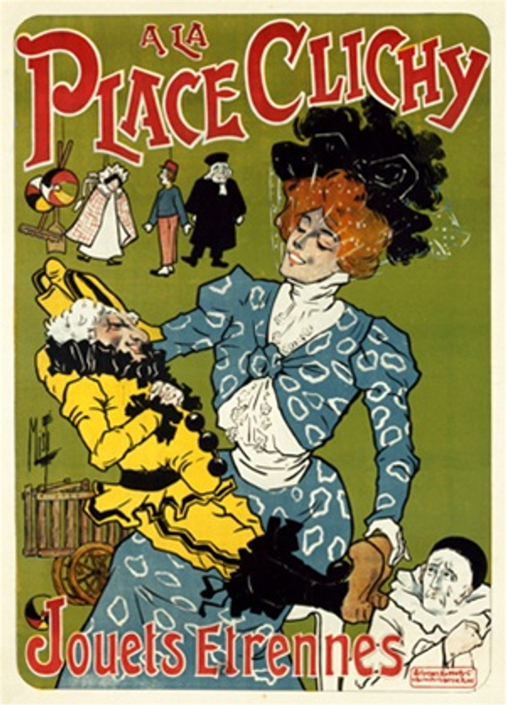 A La Place Clichy poster by Misti 1890 France - Vintage Poster Reproductions. This French poster features a woman in a blue dress and black hat holding a doll with puppets hanging behind her and a clown in corner. Giclee Advertising Prints. Classic Posters