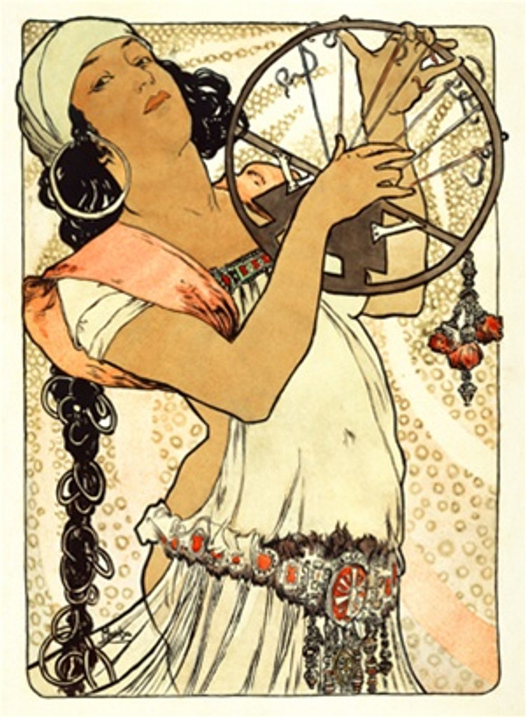 Salambo by Mucha 1898 France - Beautiful Vintage Poster Reproductions. This vertical French theater and exhibition poster features a woman with a long black braid holding up a circle with strings or harp. Giclee Advertising Print. Classic Posters