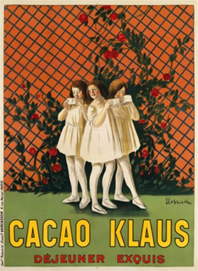 Cacao Klaus poster by Leonetto Cappiello 1910 France - Beautiful Vintage Poster Reproduction. This vertical French poster features three girls wearing off white dresses in a pink garden drinking hot chocolate. Giclee advertising prints. Classic Posters