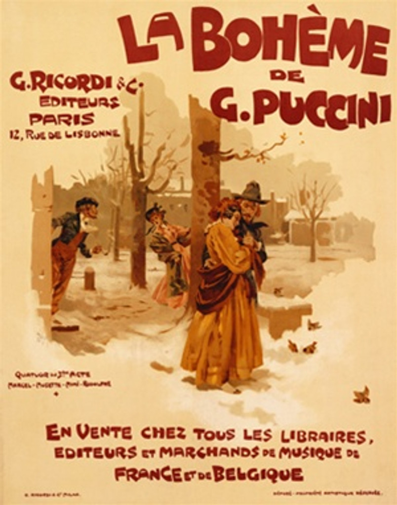 La Boheme De G. Puccini poster by Adolfo Hohenstein 1900 France - Beautiful Vintage Poster Reproduction. This vertical French theater and exhibition poster features 2 couples outside on a winter day, one couple huddles together. Giclee Advertising Prints. Classic Posters