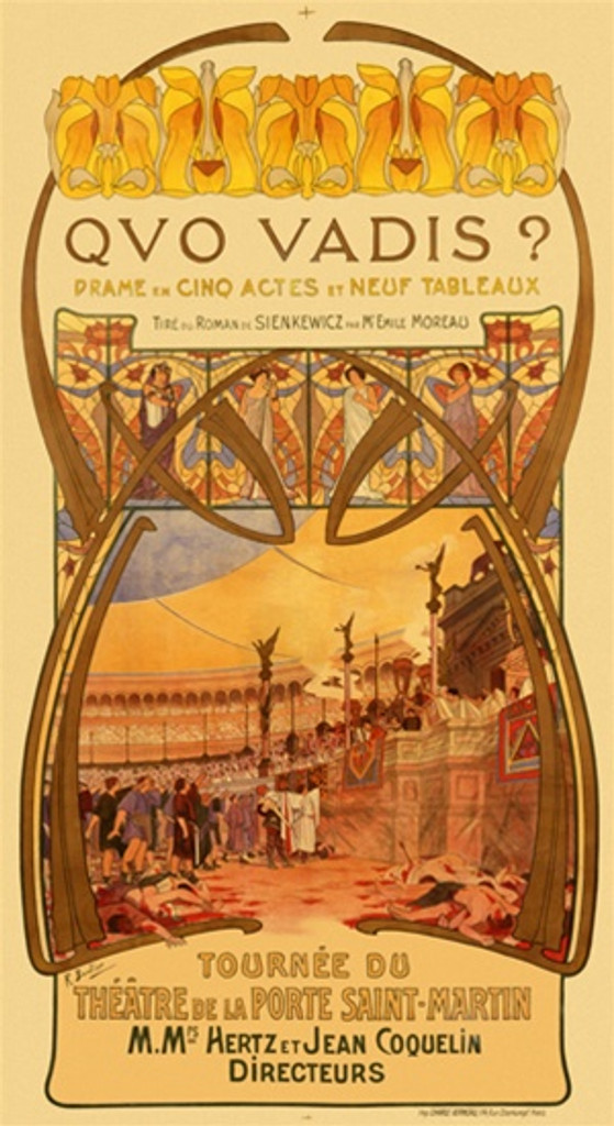 Qvo Vadis 1900 France - Beautiful Vintage Poster Reproductions. This vertical French poster features a colosseum with bloody dead bodies and gladiators facing the crowd and the box seats of dignitaries. Giclee Advertising Print. Classic Posters