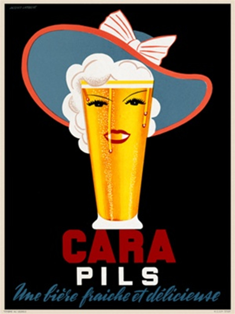 Cara Pils beer poster by Jacques Lambert 1930 France - Vintage Poster Reproduction. This French wine and spirits poster features a pint of beer with a female face and a hat with a bow against a black background. Giclee Advertising Prints. Classic Posters